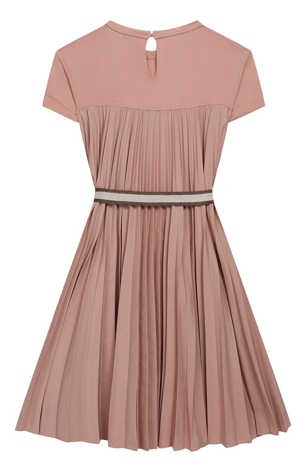 Детское хлопковое платье с поясом BRUNELLO CUCINELLI розового цвета, арт. B0045A010C   Фото 2 (Рукава: Короткие; Случай: Повседневный; Материал внешний: Хлопок; Девочки Кросс-КТ: Платье-одежда)