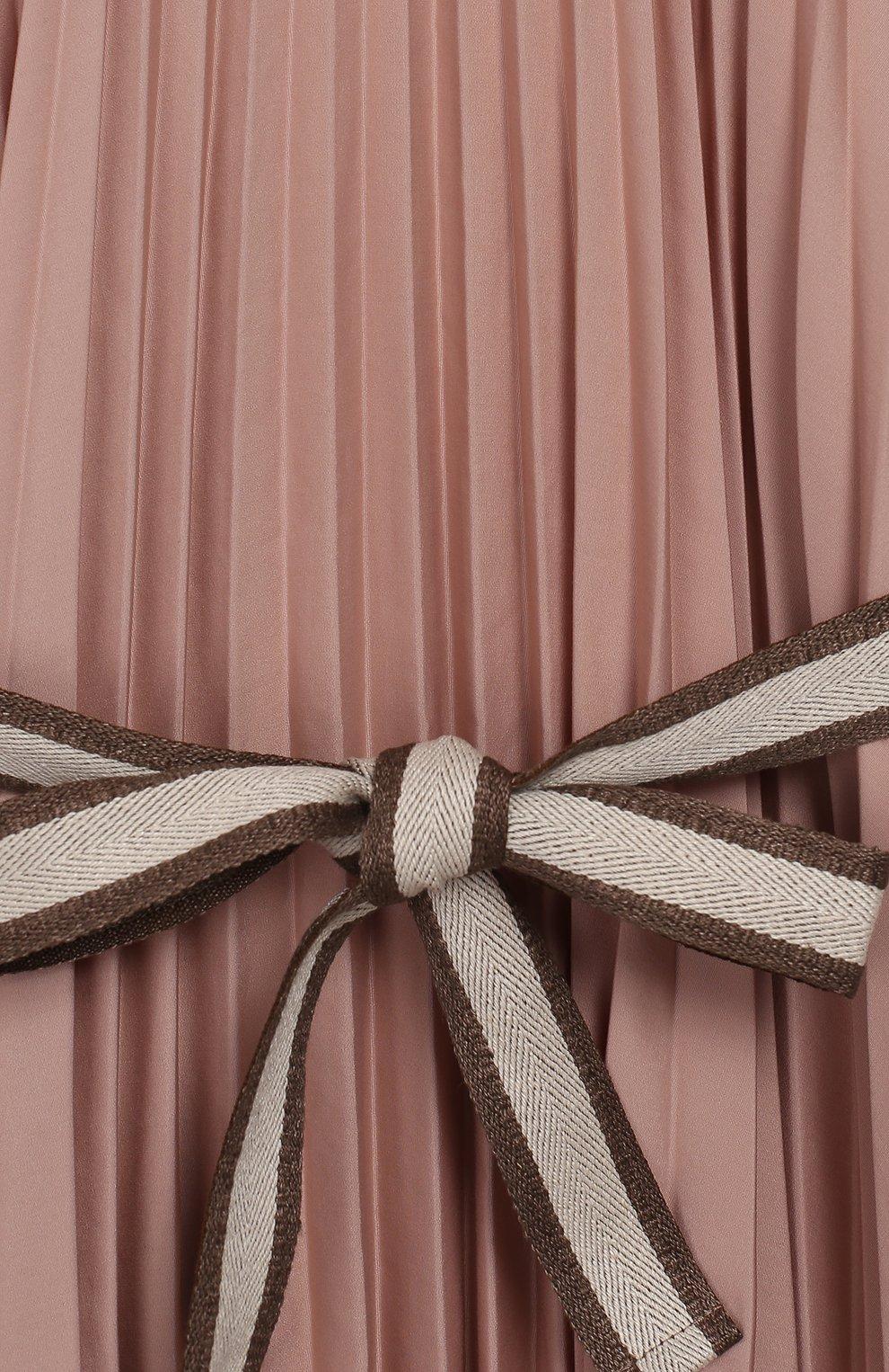 Детское хлопковое платье с поясом BRUNELLO CUCINELLI розового цвета, арт. B0045A010C   Фото 3 (Рукава: Короткие; Случай: Повседневный; Материал внешний: Хлопок; Девочки Кросс-КТ: Платье-одежда)