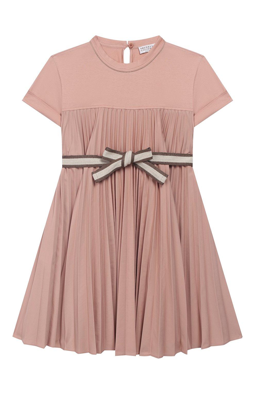 Детское хлопковое платье с поясом BRUNELLO CUCINELLI розового цвета, арт. B0045A010B   Фото 1 (Рукава: Короткие; Случай: Повседневный; Материал внешний: Хлопок; Девочки Кросс-КТ: Платье-одежда)