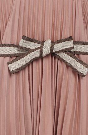 Детское хлопковое платье с поясом BRUNELLO CUCINELLI розового цвета, арт. B0045A010B   Фото 3 (Рукава: Короткие; Случай: Повседневный; Материал внешний: Хлопок; Девочки Кросс-КТ: Платье-одежда)