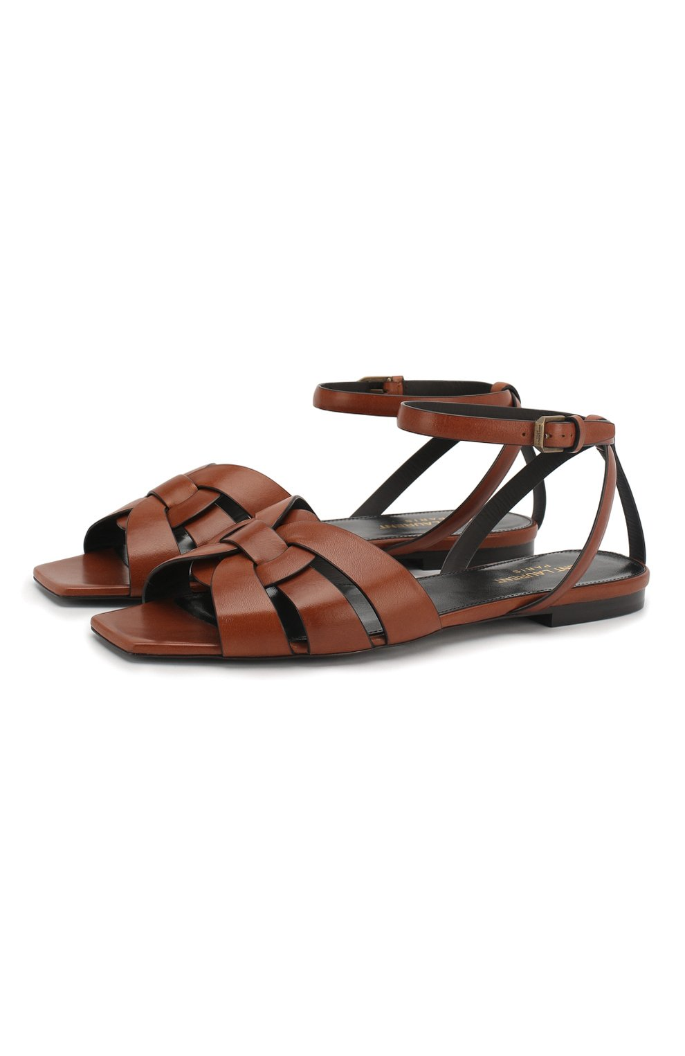 Женские кожаные сандалии tribute SAINT LAURENT коричневого цвета, арт. 620090/DWE00   Фото 1 (Каблук высота: Низкий; Материал внутренний: Натуральная кожа; Подошва: Плоская)