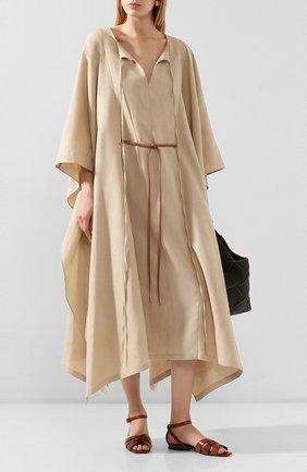 Женские кожаные сандалии tribute SAINT LAURENT коричневого цвета, арт. 620090/DWE00 | Фото 2