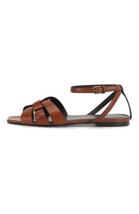 Женские кожаные сандалии tribute SAINT LAURENT коричневого цвета, арт. 620090/DWE00   Фото 3 (Каблук высота: Низкий; Материал внутренний: Натуральная кожа; Подошва: Плоская)