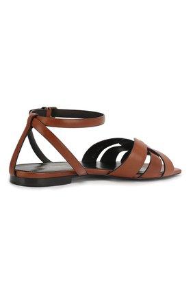 Женские кожаные сандалии tribute SAINT LAURENT коричневого цвета, арт. 620090/DWE00   Фото 4 (Каблук высота: Низкий; Материал внутренний: Натуральная кожа; Подошва: Плоская)