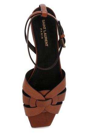 Женские кожаные сандалии tribute SAINT LAURENT коричневого цвета, арт. 620090/DWE00   Фото 5 (Каблук высота: Низкий; Материал внутренний: Натуральная кожа; Подошва: Плоская)