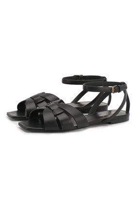 Женские кожаные сандалии tribute SAINT LAURENT черного цвета, арт. 620090/DWE00   Фото 1