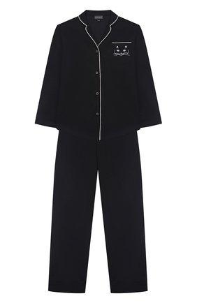 Детская хлопковая пижама NATAYAKIM черного цвета, арт. NY-025BWK | Фото 1