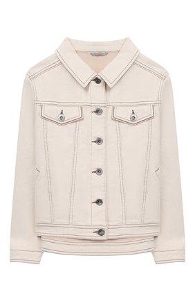 Детская джинсовая куртка BRUNELLO CUCINELLI бежевого цвета, арт. BH1190460B | Фото 1