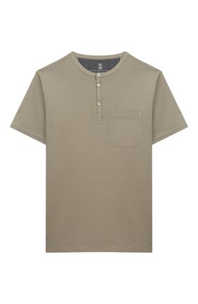 Детская хлопковая футболка BRUNELLO CUCINELLI хаки цвета, арт. B0B13T120B   Фото 1