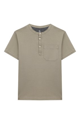 Детская хлопковая футболка BRUNELLO CUCINELLI хаки цвета, арт. B0B13T120A | Фото 1