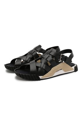 Мужские кожаные сандалии ns1 DOLCE & GABBANA черного цвета, арт. CS1795/AX656 | Фото 1