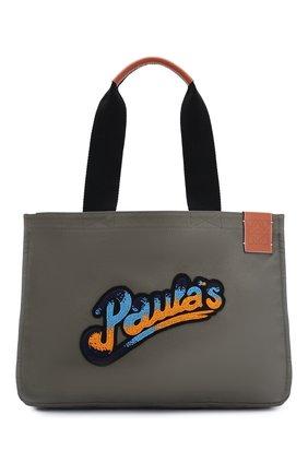 Женская сумка-шопер loewe x paula's ibiza LOEWE хаки цвета, арт. A716C67X05 | Фото 1