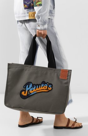 Женская сумка-шопер loewe x paula's ibiza LOEWE хаки цвета, арт. A716C67X05 | Фото 2