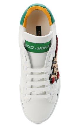 Женские кожаные кеды portofino DOLCE & GABBANA белого цвета, арт. CK1563/AW078 | Фото 5