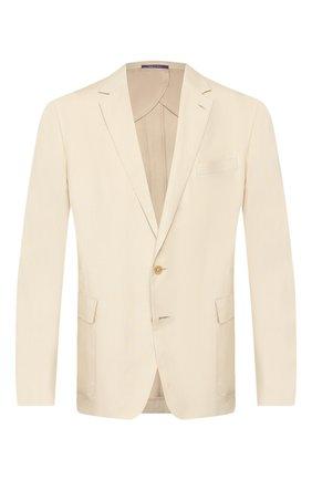 Мужской пиджак из шелка и льна RALPH LAUREN бежевого цвета, арт. 798794546 | Фото 1