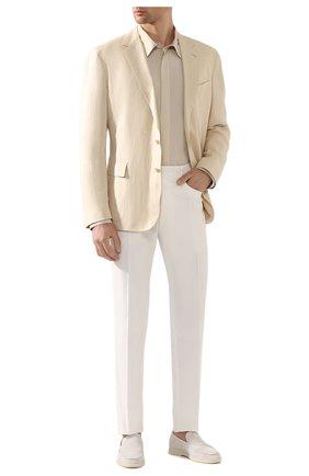 Мужской пиджак из шелка и льна RALPH LAUREN бежевого цвета, арт. 798794546 | Фото 2