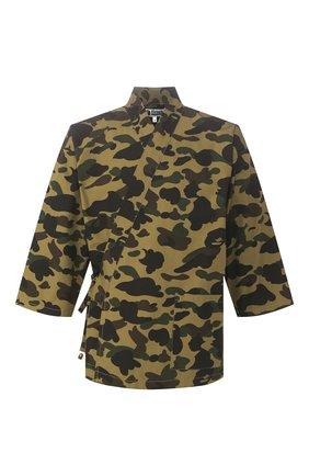Мужская хлопковая рубашка BAPE зеленого цвета, арт. 1G30131004 | Фото 1