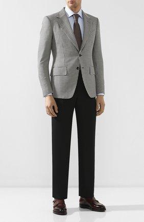 Мужской брюки из хлопка и шелка TOM FORD черного цвета, арт. 774R22/610043 | Фото 2