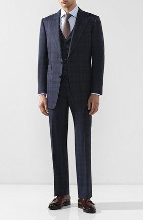 Мужской шерстяной костюм-тройка TOM FORD синего цвета, арт. 0R6512/31AL43 | Фото 1