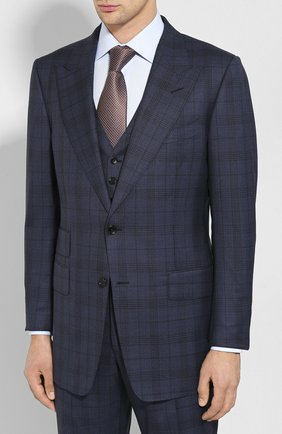 Мужской шерстяной костюм-тройка TOM FORD синего цвета, арт. 0R6512/31AL43 | Фото 2