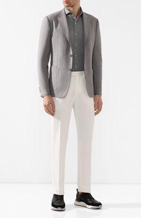 Мужская хлопковая рубашка CANALI серого цвета, арт. L756/GN00845 | Фото 2