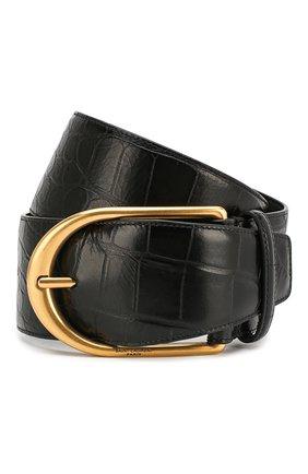 Женский кожаный ремень SAINT LAURENT черного цвета, арт. 619783/1SR0W | Фото 1