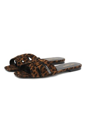 Женские кожаные шлепанцы nu pieds SAINT LAURENT коричневого цвета, арт. 572761/1FL00 | Фото 1