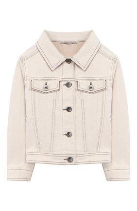 Детская джинсовая куртка BRUNELLO CUCINELLI бежевого цвета, арт. BH1190460A | Фото 1