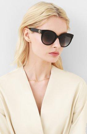 Женские солнцезащитные очки GUCCI черного цвета, арт. GG0035 001 | Фото 2