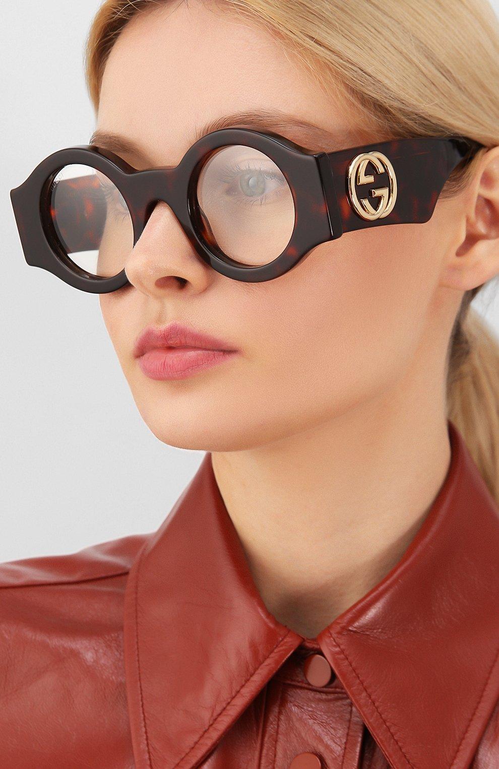 Женские солнцезащитные очки GUCCI коричневого цвета, арт. GG0629 001 | Фото 2
