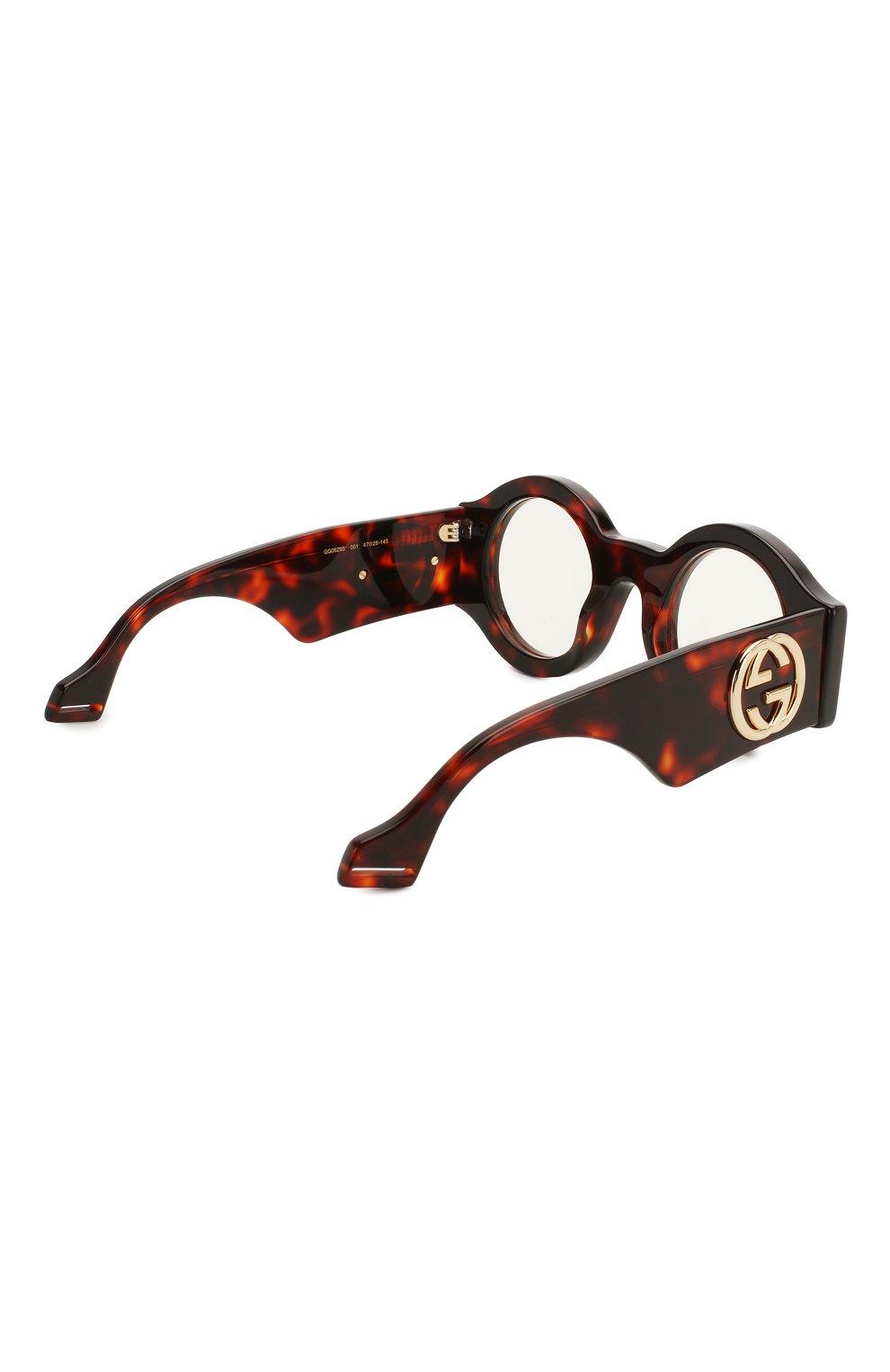 Женские солнцезащитные очки GUCCI коричневого цвета, арт. GG0629 001 | Фото 4