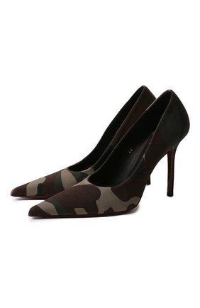 Женская текстильные туфли VETEMENTS зеленого цвета, арт. WAH21HE221/2511 GABARDINE | Фото 1