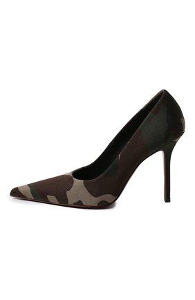 Женская текстильные туфли VETEMENTS зеленого цвета, арт. WAH21HE221/2511 GABARDINE | Фото 2