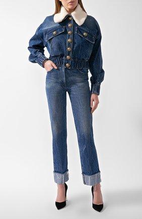 Женская джинсовая куртка BALMAIN синего цвета, арт. UF18641/D059 | Фото 1