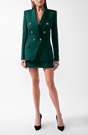 Женский шерстяной жакет BALMAIN зеленого цвета, арт. UF17471/167L | Фото 1