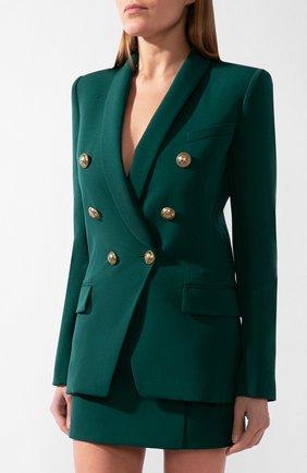 Женский шерстяной жакет BALMAIN зеленого цвета, арт. UF17471/167L | Фото 2
