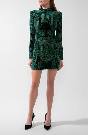 Женское платье из вискозы и шелка BALMAIN зеленого цвета, арт. UF16203/V121 | Фото 1