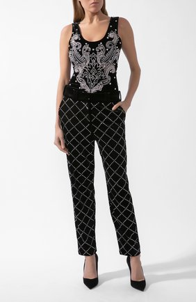 Женское боди из вискозы и шелка BALMAIN черного цвета, арт. UF10893/P050 | Фото 1