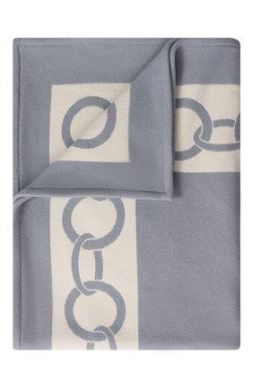Мужского шерстяной плед FRETTE темно-синего цвета, арт. FR6607 F0400 130I   Фото 1