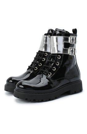 Детские кожаные ботинки BALMAIN черного цвета, арт. 6N0536/NX430 | Фото 1