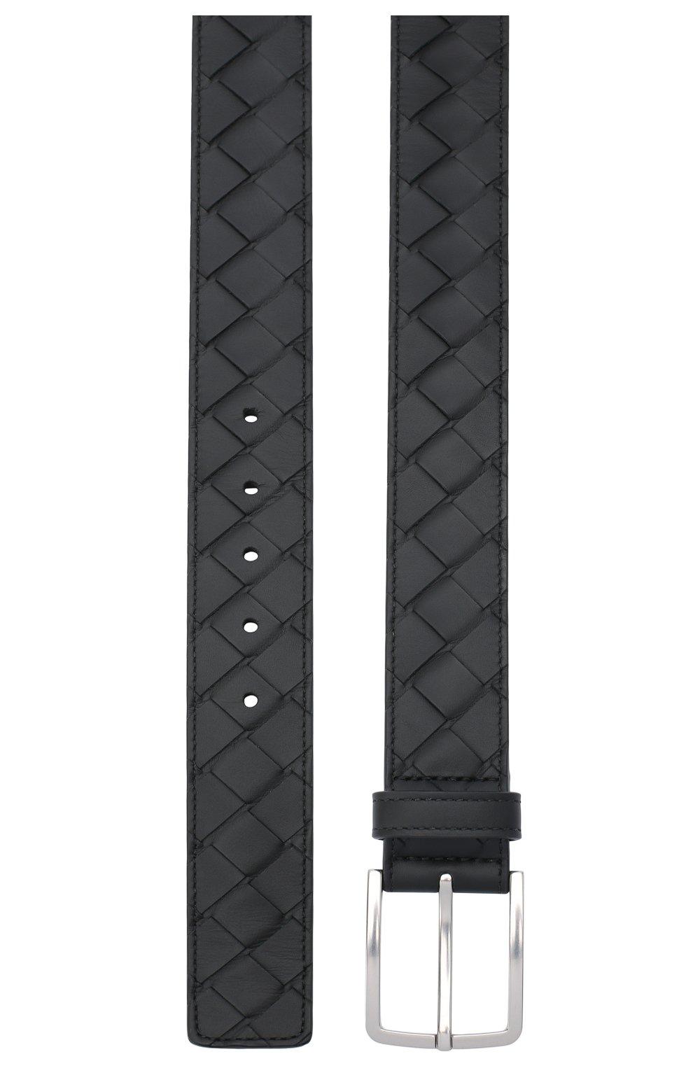 Мужской кожаный ремень BOTTEGA VENETA черного цвета, арт. 609182/VCPQ3   Фото 2 (Случай: Повседневный)