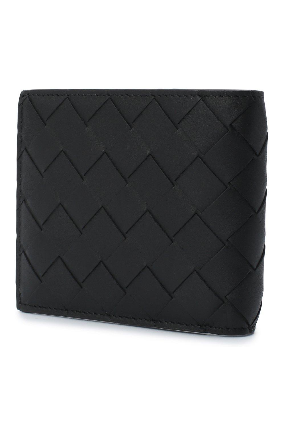 Мужской кожаное портмоне BOTTEGA VENETA черного цвета, арт. 605721/VCPQ4   Фото 2
