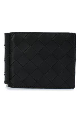 Мужской кожаный зажим для денег BOTTEGA VENETA черного цвета, арт. 592626/VCPQ4 | Фото 1