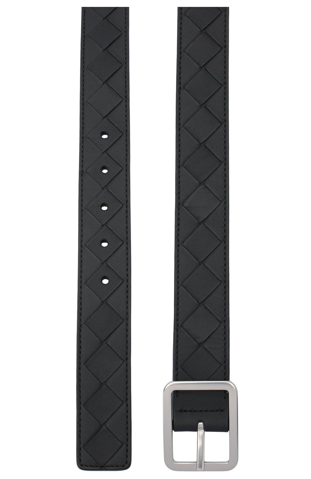 Мужской кожаный ремень BOTTEGA VENETA черного цвета, арт. 611392/VCPQ1 | Фото 2