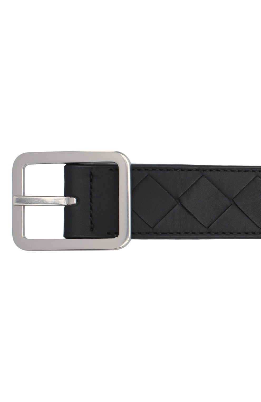 Мужской кожаный ремень BOTTEGA VENETA черного цвета, арт. 611392/VCPQ1 | Фото 3