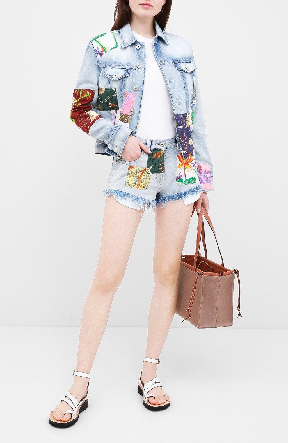 Женские джинсовые шорты loewe x paula's ibiza LOEWE голубого цвета, арт. S616331X10   Фото 2 (Женское Кросс-КТ: Шорты-одежда; Кросс-КТ: Деним; Длина Ж (юбки, платья, шорты): Мини; Материал внешний: Хлопок; Стили: Кэжуэл)