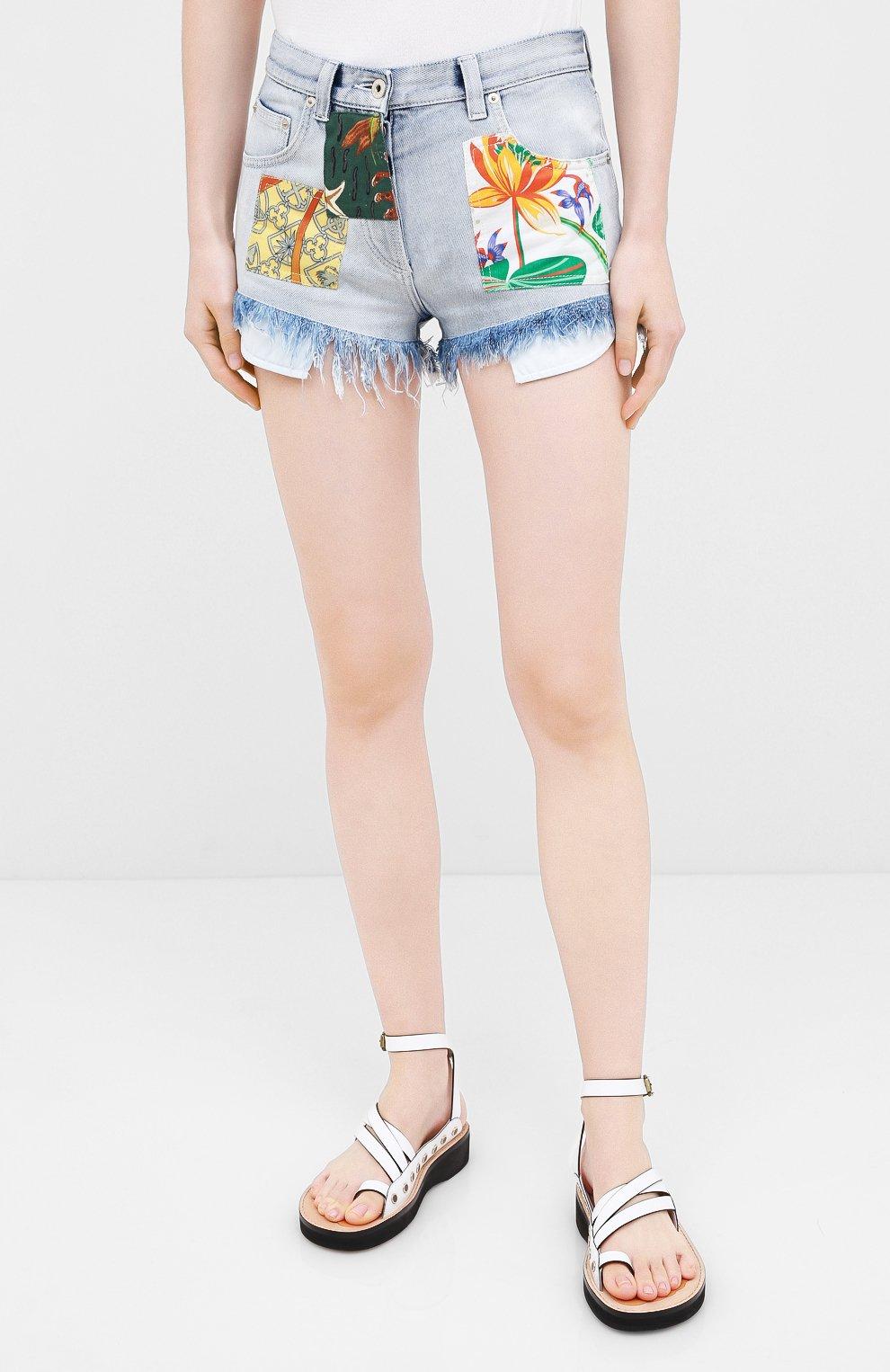 Женские джинсовые шорты loewe x paula's ibiza LOEWE голубого цвета, арт. S616331X10   Фото 3 (Женское Кросс-КТ: Шорты-одежда; Кросс-КТ: Деним; Длина Ж (юбки, платья, шорты): Мини; Материал внешний: Хлопок; Стили: Кэжуэл)