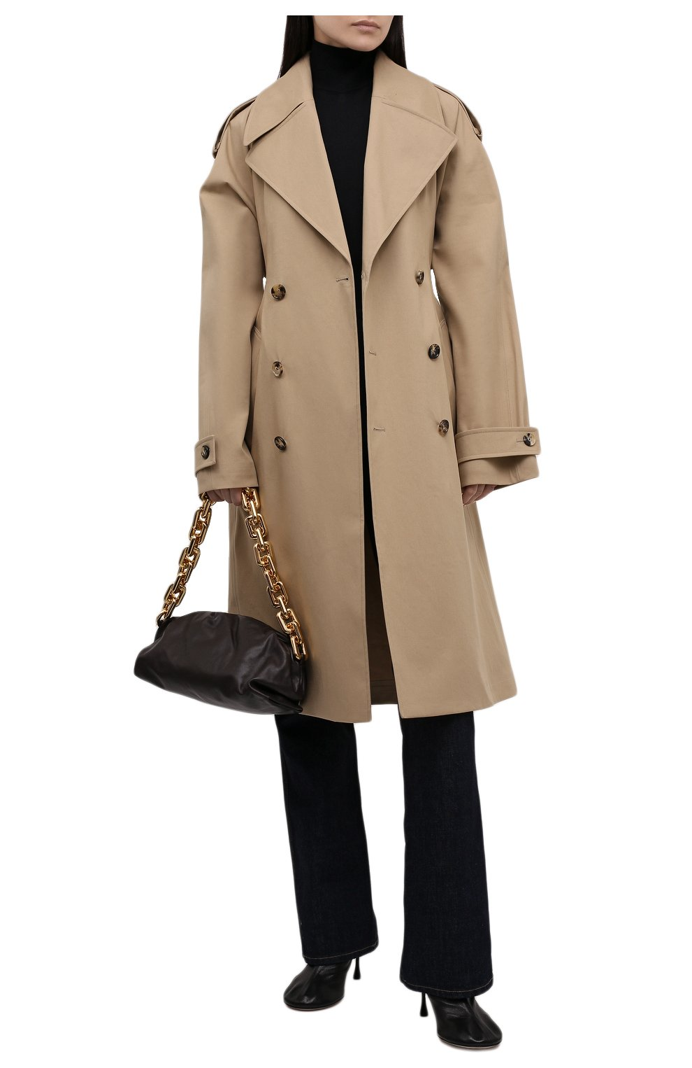 Женская сумка chain pouch BOTTEGA VENETA темно-коричневого цвета, арт. 620230/VCP40   Фото 3