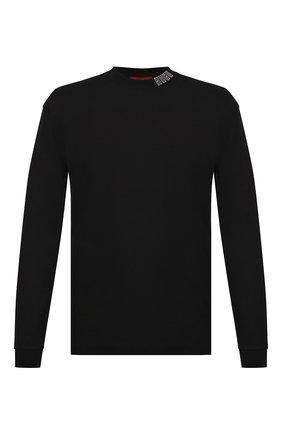 Мужская хлопковый лонгслив HUGO черного цвета, арт. 50432192   Фото 1