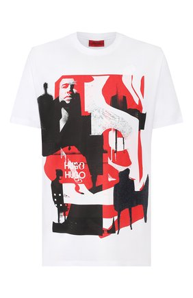 Мужская хлопковая футболка HUGO белого цвета, арт. 50432206 | Фото 1